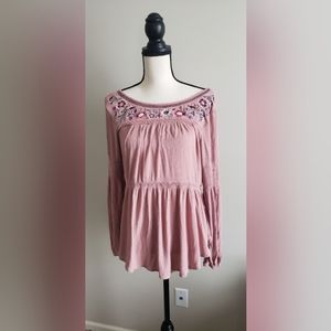 Knox Rose Pink flower embroidered Boho top M